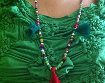 Beaded Multicolor Tassel Mid-Long Necklace