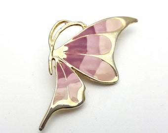 Dainty Pink Butterfly Side Brooch Gold tone metal Vintage from the 90s Enamel Finish Gift for her, daughter, friend Flying Wings Blush