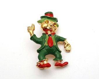 Rare Red and Green Leprechaun Brooch Silver tone metal Vintage Rhinestones Eyes Good Luck Irish folklore Saint Patrick Day Goblin