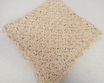 "Handmade Crochet Cotton Baby Blanket - 30"" x 30""  Ivory with Flecks of Pastel Colors."