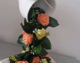 Unique Cup Gift, Gift for Christmas, Cup Flowers, Flying Cup, Beautiful Roses,Souvenir Gift, Home Decor Gift for Her, Gift for Any Occasion