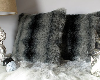 Black Wolf striped luxury faux fur cushion covers, cushions, pillow covers in choice of 2 sizes. Matching throws available.