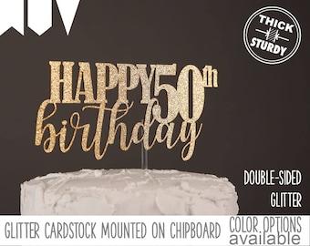 happy 50th birthday cake topper, milestone birthday cake topper, Glitter party decorations, cursive topper