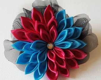 Hair Flower - Flower Hair Clip - Hair Fascinator - Pink Hair Flower - Pink and Blue Flower Clip - Hair Clip -Flower Hair Accessories