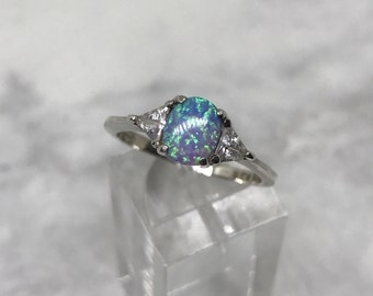Size 8, vintage sterling silver handmade ring, solid 925 silver with fire opal and crystal details, stamped 925 RJ 8