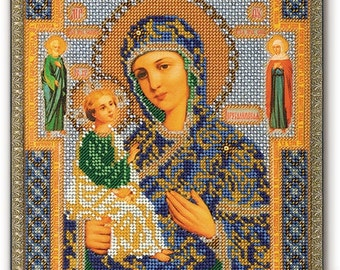 Bead Embroidery Kit DIY Icon Our Lady Of Jerusalem Canvas Glass Beads Guide Beginners