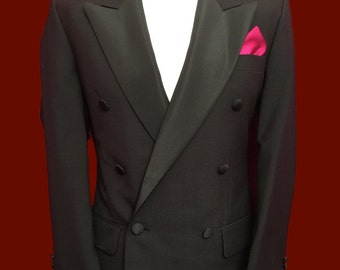 David Moss 38 Short Superb Vintage Traditional Double Breasted Tuxedo Dinner Suit. Wool Blend, Waist 32 Leg 30