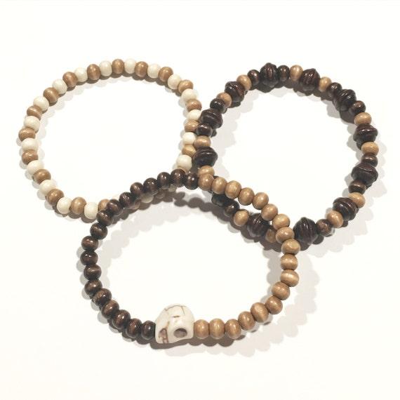 Wooden Beaded bracelets | Brown | Tan | Men's | Unisex | Bracelet | Skull
