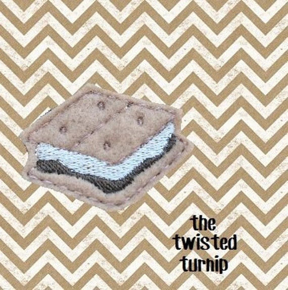 5x7 Hoop Cute Realistic Smores S'mores Feltie Felt Felty Embroidery Design Marshmallow Instant Download by The Twisted Turnip