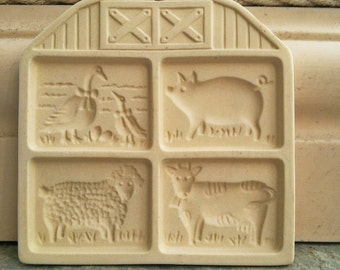 barn Cookie Mold Pampered Chef - Farmyard Friends 1994 - animal cookie press - shortbread - vtg baking mould - farm animals