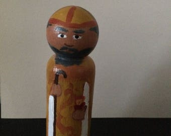 St. Augustine hand-painted wooden peg doll