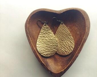 Stay Gold Leather Teardrop Earrings