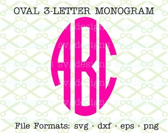 3 Letter Monogram Set,  Oval Circle Monogram Svg, Dxf, Eps, Png; 78 Files:  Left, Middle, Right Letters, Cricut Files & Silhouette Files