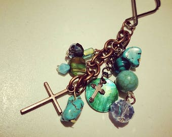 Turquoise and Abalone Copper Cross Key Charm