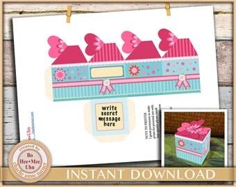 DIY Pink petal gift box printable digital instant download