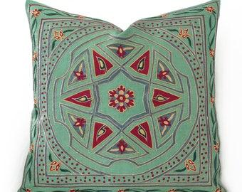 SALE 30% - Green floral pillow suzani pillow emboidered floral pillow throw pillow green pillow floral pillow green throw pillow ethnic