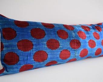 SALE! Handwoven Polka dot silk velvet ikat pillow cover, bolster pillow, long bolster pillow, bolster pillow cover, velvet bolster cover