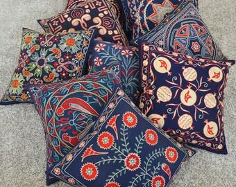 Silk Hand Embroidered Pillow suzani cushion decorative suzani embroidered decorative pillow handmade suzani handmade suzani floral bohemian
