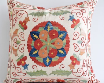 SALE! Hand Embroidery Silk Suzani pillow,  decorative pillows for couch,throw pillows, throw pillow covers, decorative, pillows handmade