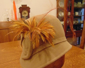 Vintage Adolfo II 100% Wool Tan Hat with Feather Adornment (free shipping)