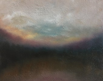 Blue, Yellow, White Sky Oil Painting, Abstract Contemporary Tonalist Landscape by Jake Trujillo. 12 x 12 inches in handmade wood frame.