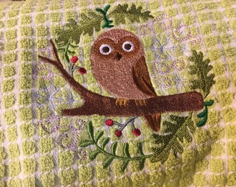 Winter Owl Tea Towel