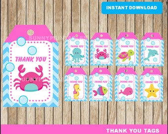 Under The Sea girl tags; printable Under The Sea Thank you Tags, Pink Under The Sea party tags instant download