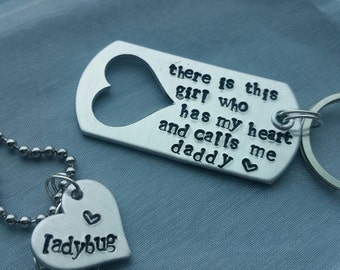 Hand Stamped Personalized Daddy/Daughter Key Chain and Necklace (or Bracelet) Set