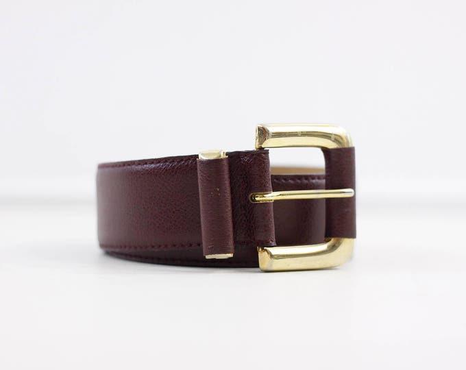 Burgundy leather belt, oxblood Italian leather belt /w gold toned buckle, dark red belt, Echt leder, elegant accessory for her, red and gold