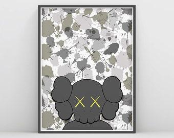 KAWS Art, Kaws Art Prints, Kaws Poster, Camouflage Kaws, Kaws Illustration, Designer Toys, Kaws Companion, Kaws michelin, Kaw Chum, Kidrobot