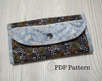My Favorite Wallet. PDF sewing pattern for wallet with card slots, slip pockets and zipper pocket. Bifold Clutch Wallet by KaysSewingStudio.