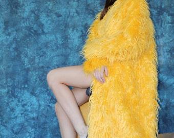 Yellow Long Faux Fur Coat
