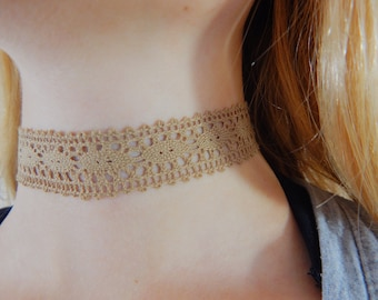 Tan Lace Choker, Simple Choker, Minimalist, Pampered, Pampered You Pink