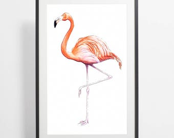 Watercolor Flamingo Painting Print – art, flamingo, illustration, bird, print, housewarming gift