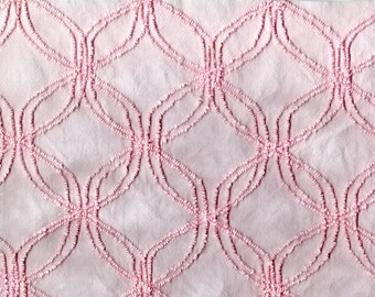 """Vintage PALE PINK Cathedral Window Pattern CHENILLE Craft Cutter From An Old Bedspread Shabby Chic Home Decor,Re-Purpose In Quilt 23"""" x 82"""""""