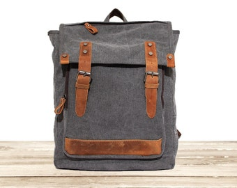 Sale  / CANVAS BACKPACK / Leather Backpack / bag / Handbag / backpack man / backpack woman