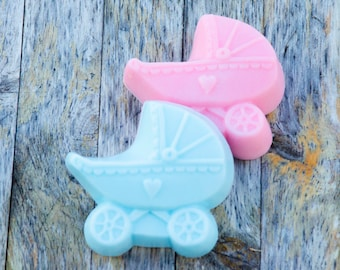 Baby Carriage Baby Shower Party Favor Handcrafted Soap Pink Blue Yellow White