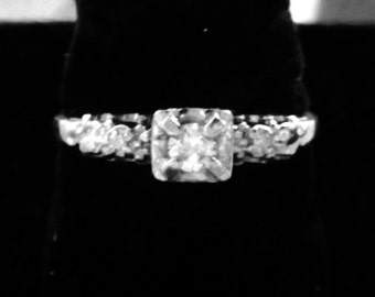 14k vintage diamond ring 1/3 ctw