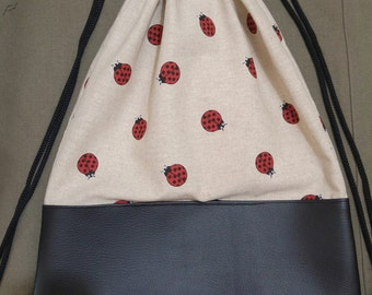 Zaino Sacca in stoffa coccinelle e vil pelle - fatto a mano (Backpack Bag ladybugs in cloth and leather vil - handmade)