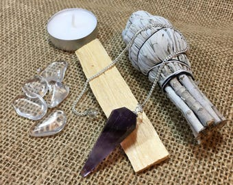 Amethyst Pendulum with White California Sage, Palo Santo Wood, Clear Quartz Crystals, Pendulum Chart, + Instructions
