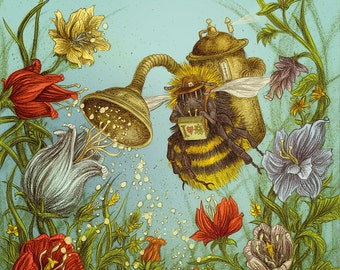Pollomat 2000 steampunk bee - A2 poster bee