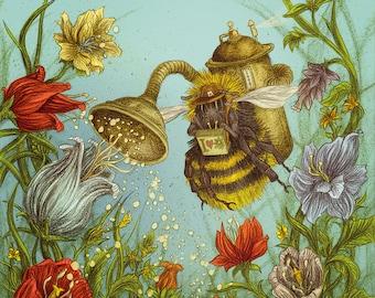 Poster Steampunk Bee A2-Pollomat 2000