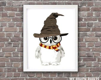 Wizard, Baby, Owl, Nursery Art, baby shower gift, nursery decor, nursery wall art, nursery woodland, wizard hat, wizard wand, gift idea, art