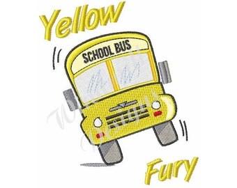 Yellow Fury School Bus - Machine Embroidery Design
