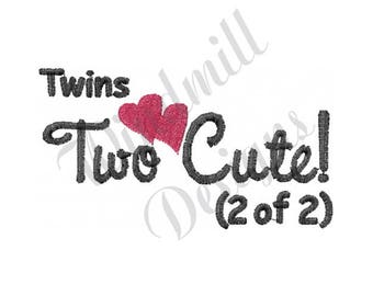 Twins Two Cute - Machine Embroidery Design