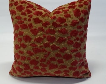 Ready to ship, leopard pillow cover,18x18, red pillow cover,animal print, velvet,designer fabric, one size, high end fabric