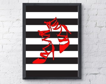 Red High Heels Instant Download / Wall Decor /Modern Wall Art / Black and White Wall Print / Wall Print / Wall Art / High Heels Art