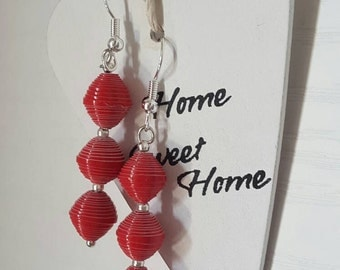 Earrings with paper beads, quilling