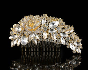 Luxury Golden Austrian Cystal & Rhinestone Flower Bouquet Hair Comb Wedding Bridal Vintage Hair Accessories Women Headpieces