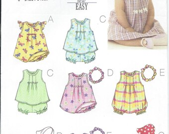 Butterick 3405, Infants, Babies, Sewing Pattern, Infant Dress, Baby Top, Baby Romper, Baby Hat, Infant Headband, Size NB-S-M, Baby, Infant
